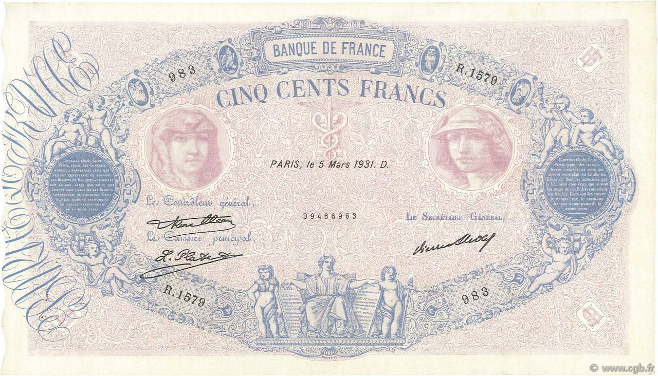 500 Francs BLEU ET ROSE  FRANCE  1931 F.30.34 SUP+