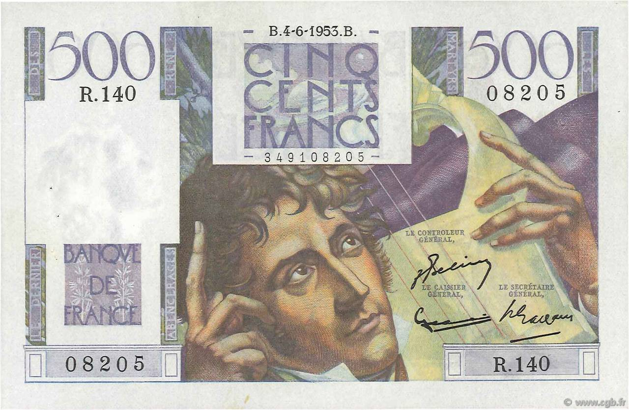 500 Francs CHATEAUBRIAND  FRANCE  1953 F.34.12 SUP+