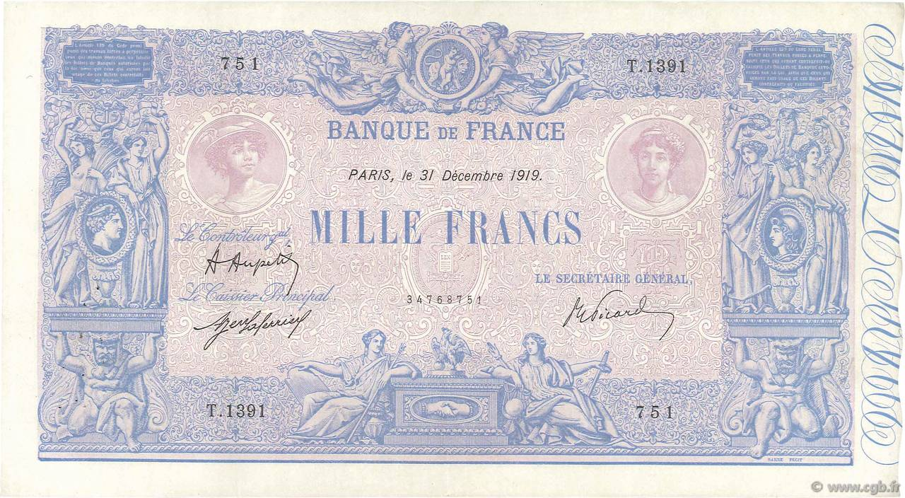 1000 Francs BLEU ET ROSE FRANCE  1919 F.36.34 TTB+ à SUP