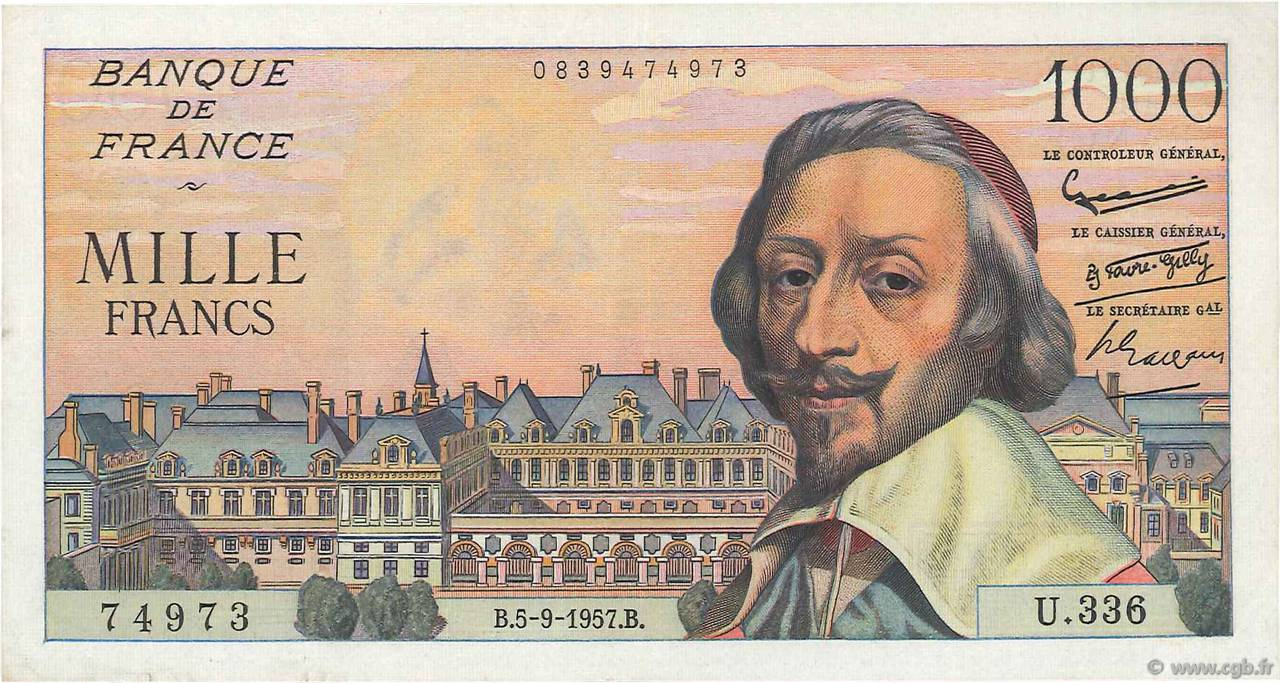 1000 Francs RICHELIEU  FRANCE  1957 F.42.26 SUP