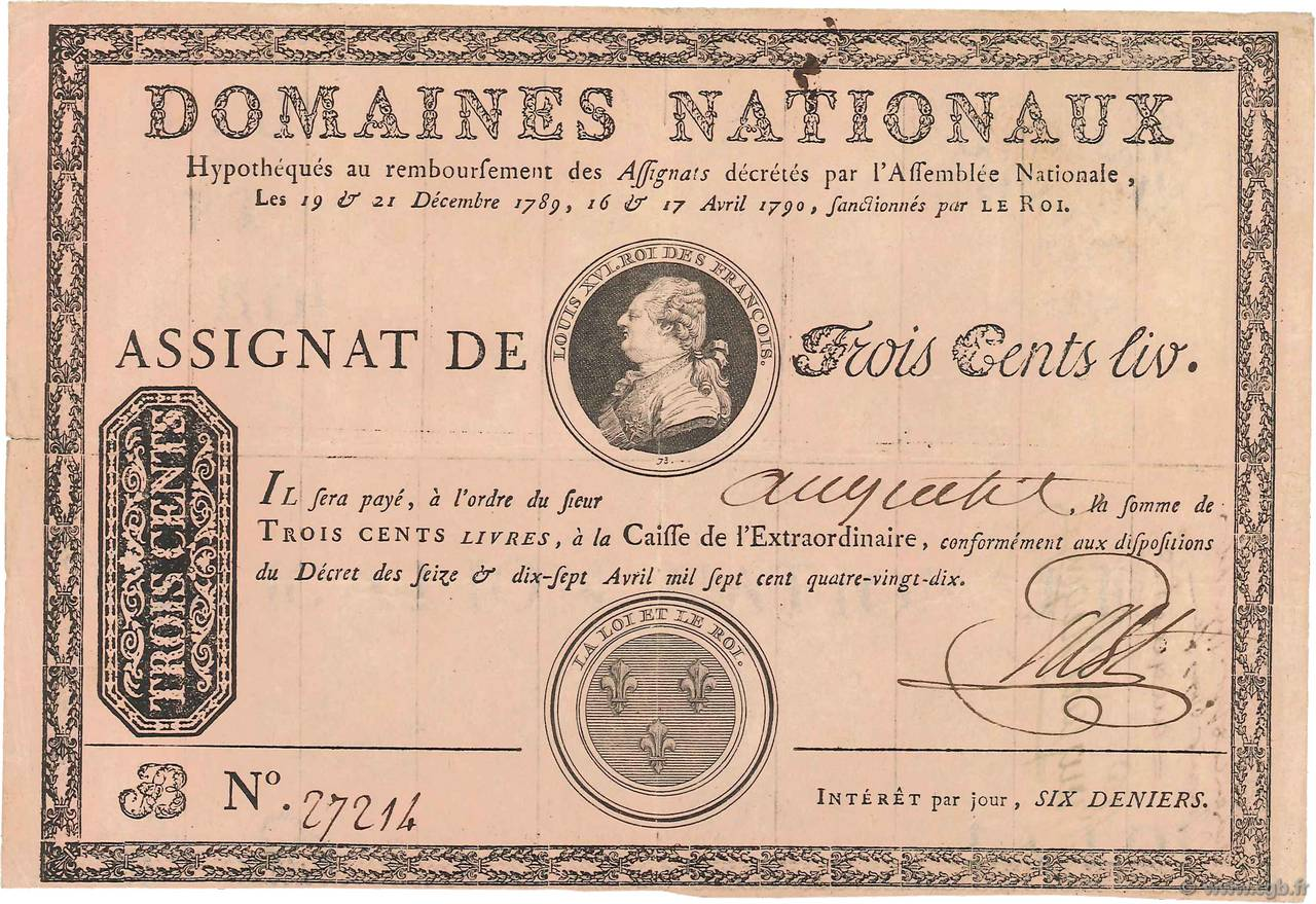 300 Livres sans coupons FRANCE  1790 Ass.02a TTB