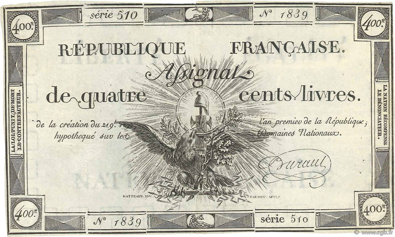 400 Livres FRANCE  1792 Ass.38a TTB
