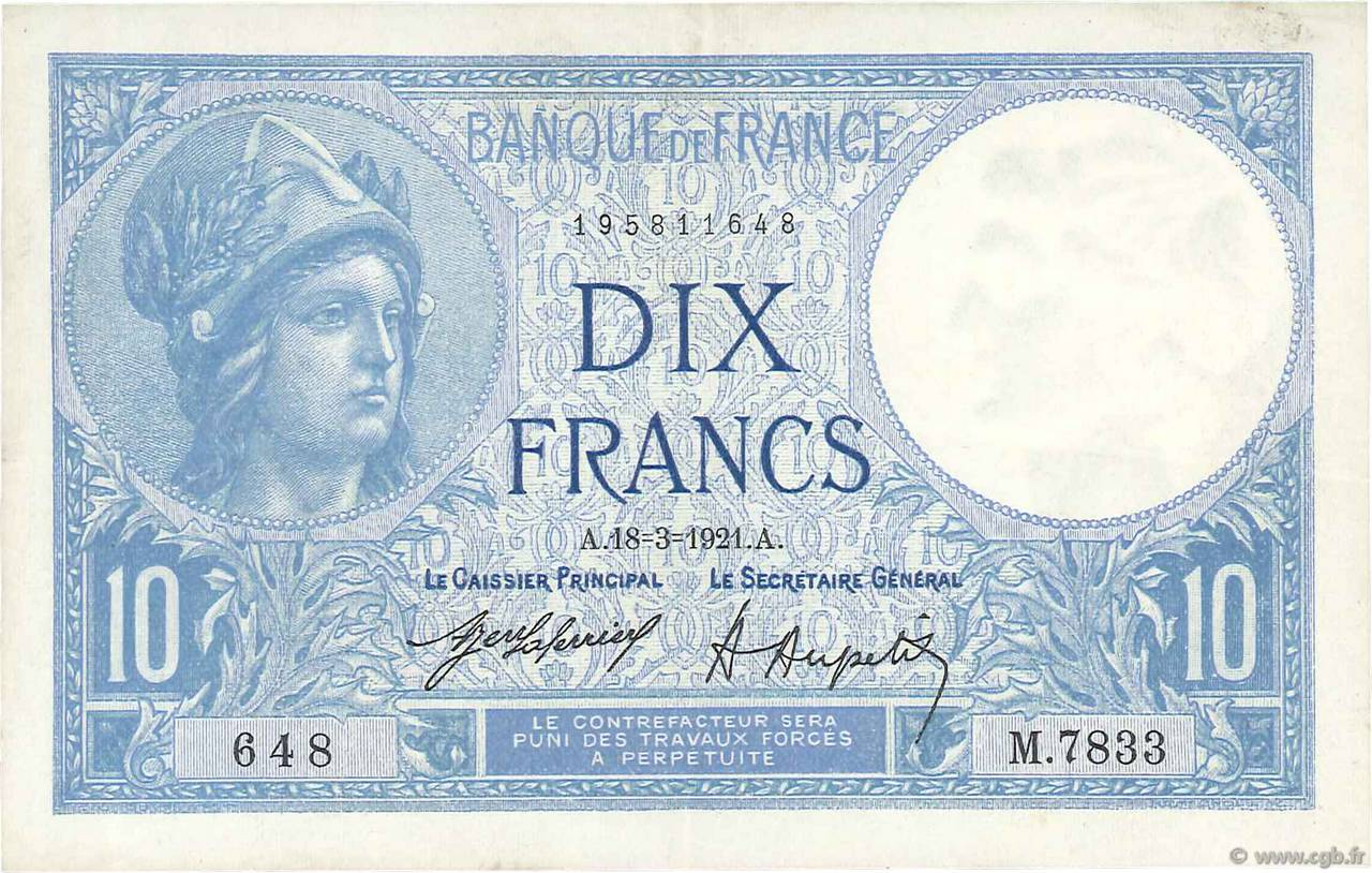 10 Francs MINERVE  FRANCE  1921 F.06.05 SUP