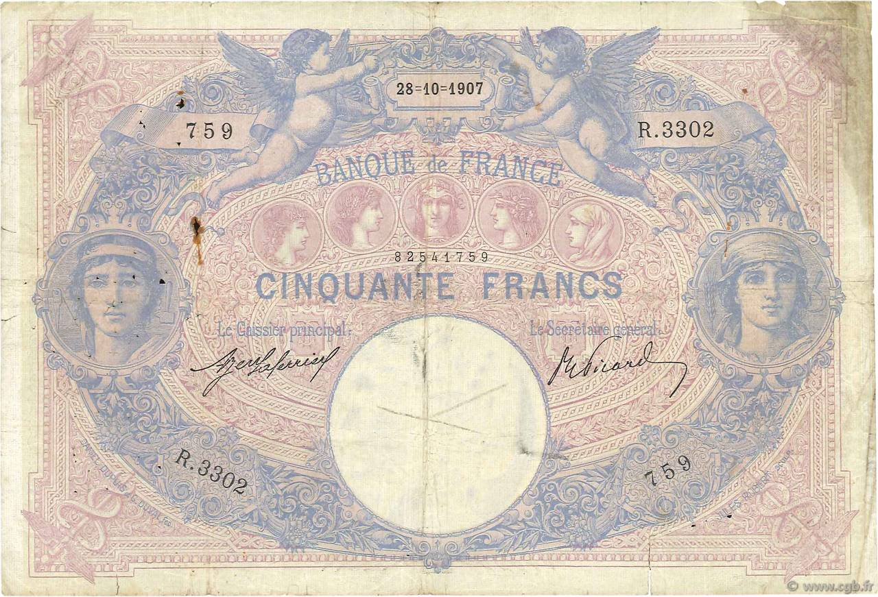 50 Francs BLEU ET ROSE  FRANCE  1907 F.14.20 B+