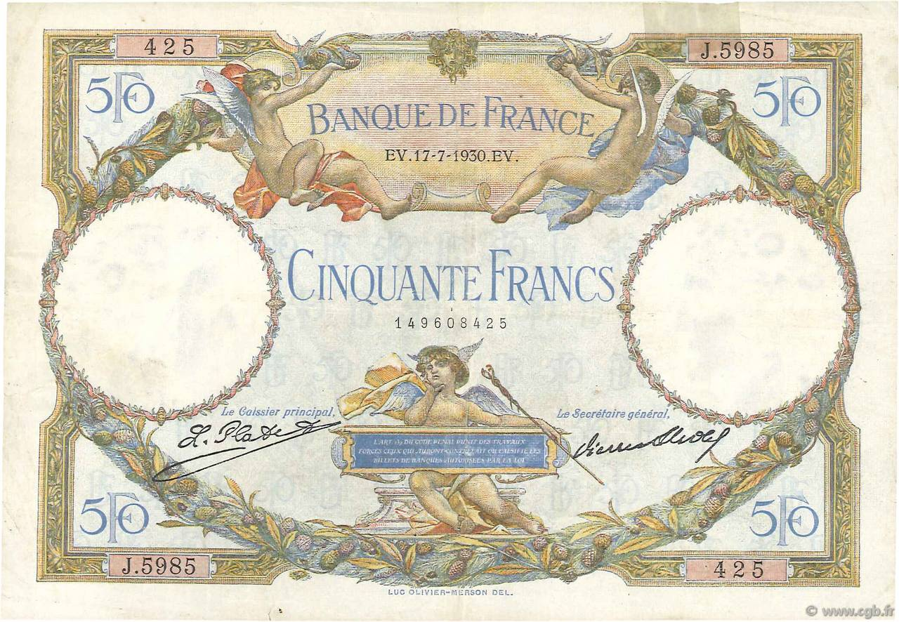50 Francs LUC OLIVIER MERSON  FRANCE  1930 F.15.04 TB+