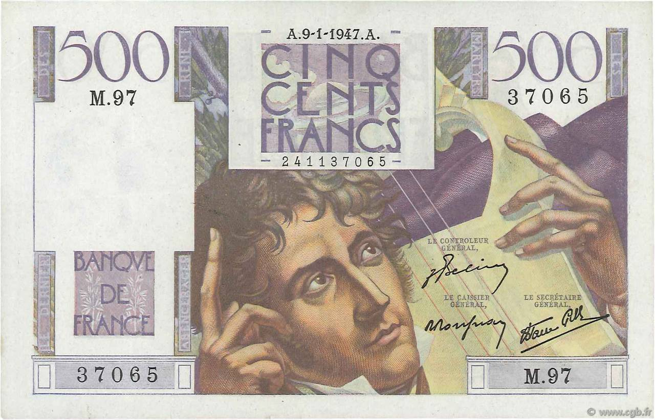 500 Francs CHATEAUBRIAND  FRANCE  1947 F.34.07 SUP+