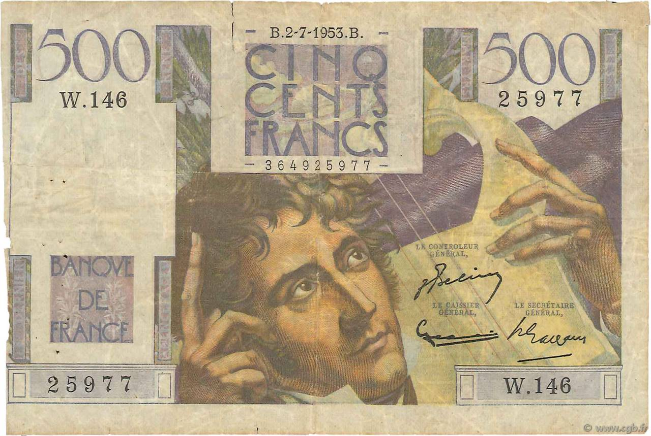 500 Francs CHATEAUBRIAND  FRANCE  1953 F.34.13 AB