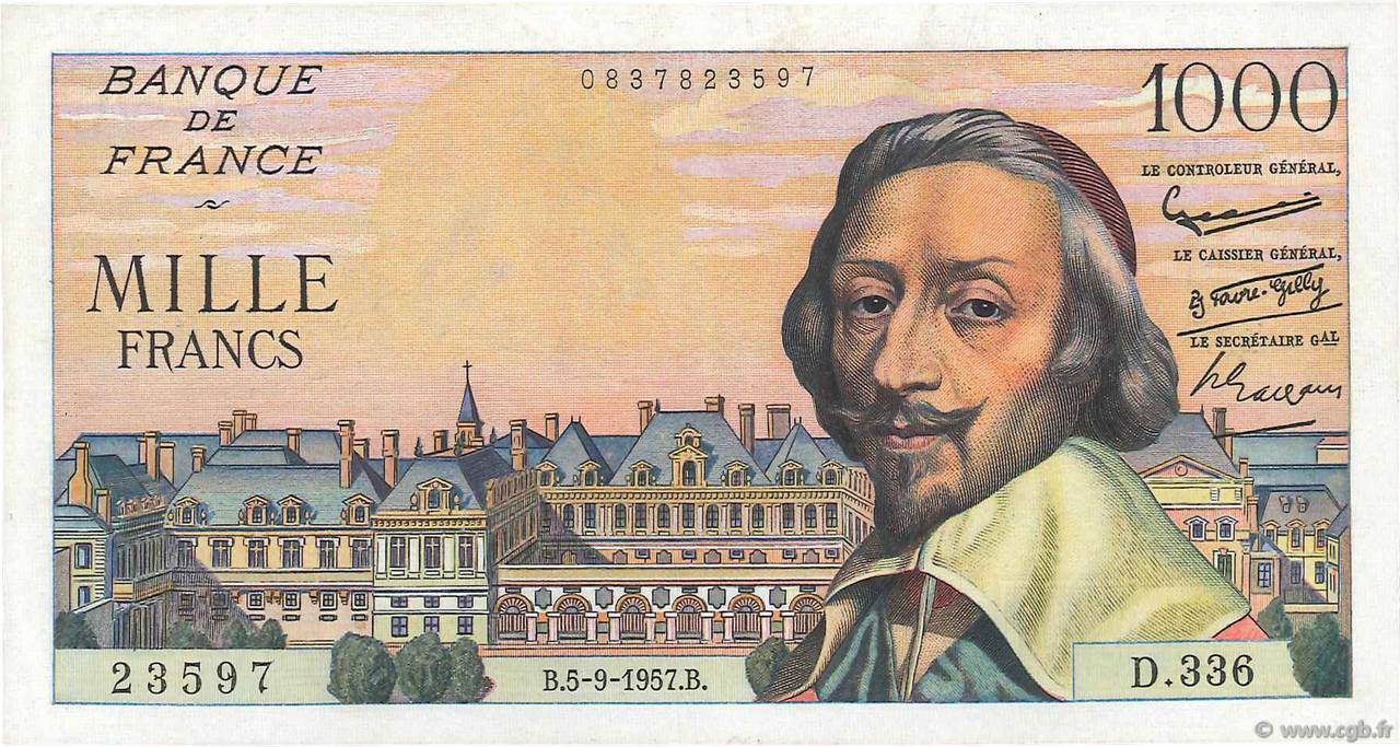 1000 Francs RICHELIEU FRANCE  1957 F.42.26 TTB+