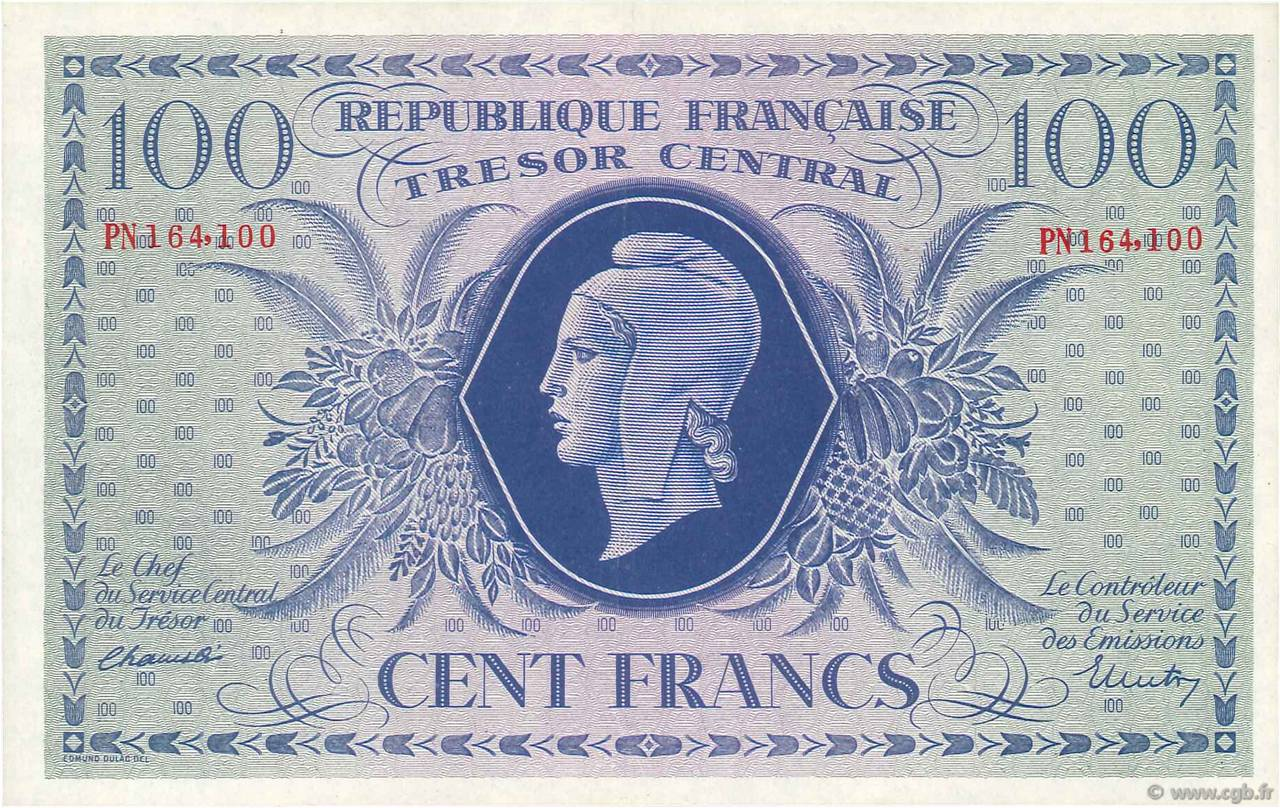 100 Francs FRANCE  1943 VF.06.01f SPL