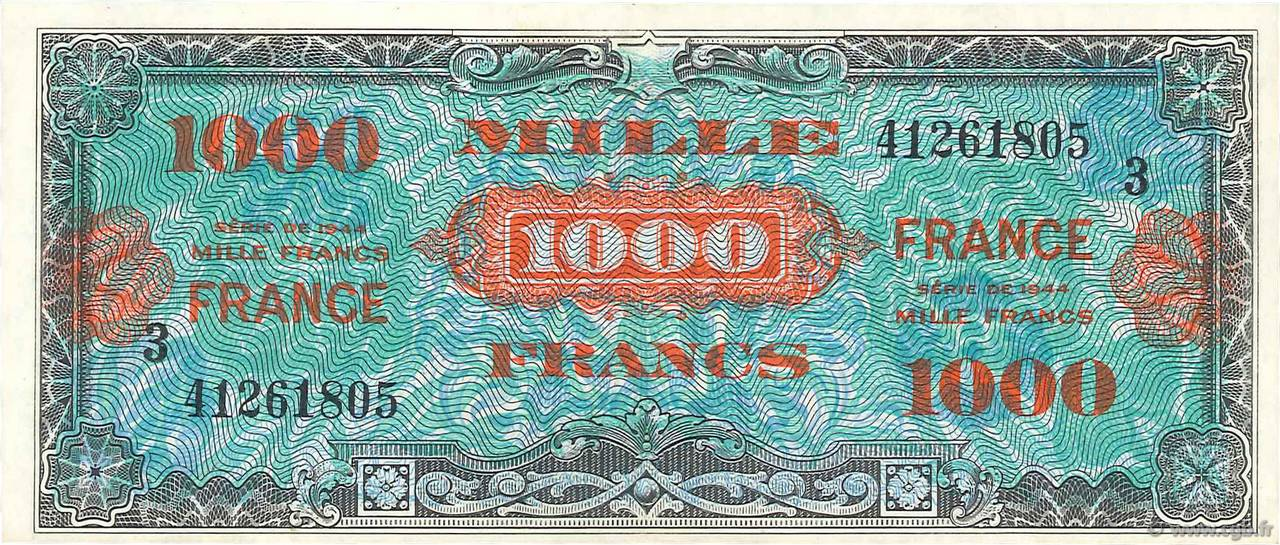 1000 Francs FRANCE  FRANCE  1945 VF.27.03 SUP+