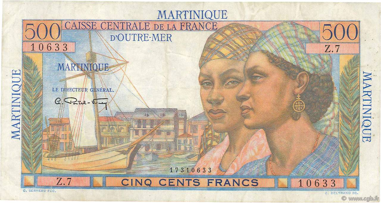 500 Francs Pointe à Pitre MARTINIQUE  1946 P.32 TTB