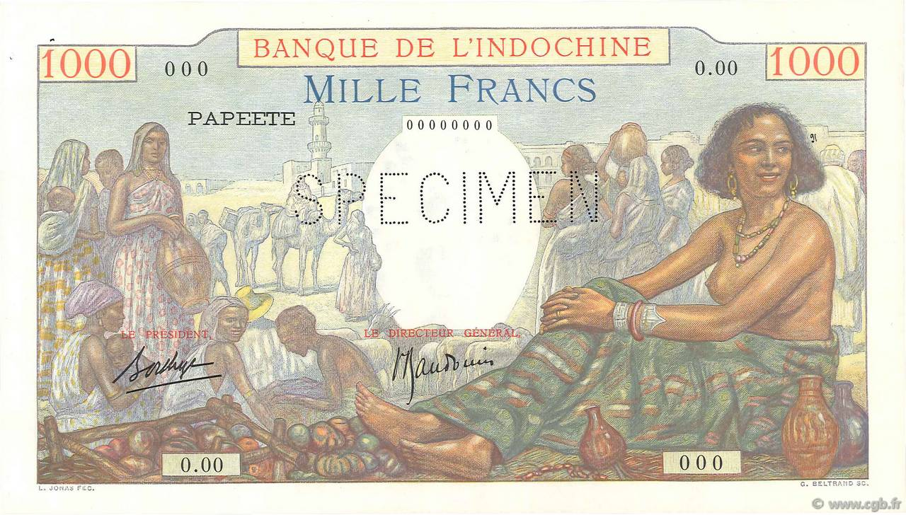 1000 Francs Spécimen TAHITI  1940 P.15aS SPL