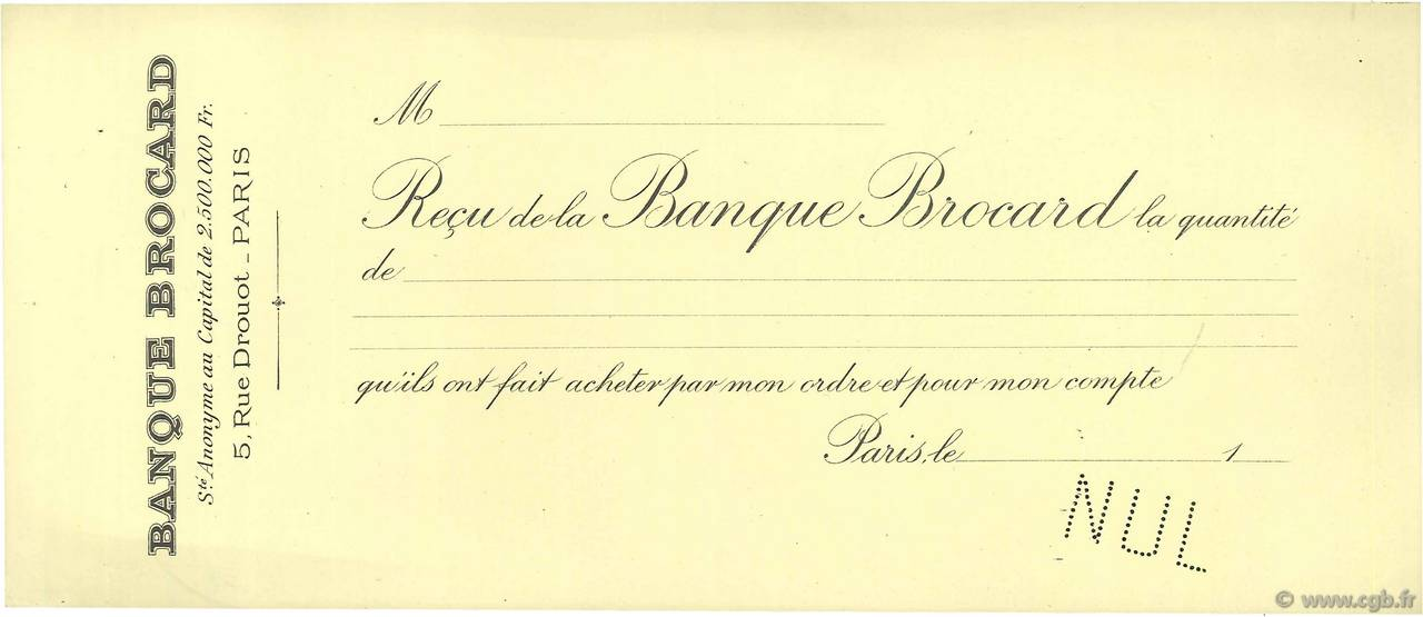 Francs FRANCE régionalisme et divers Paris 1880 DOC.Reçu TTB