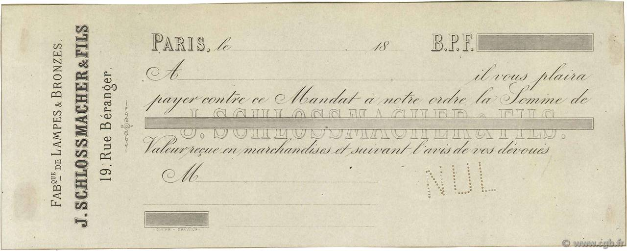 Francs FRANCE régionalisme et divers PARIS 1850 DOC.Mandat SUP