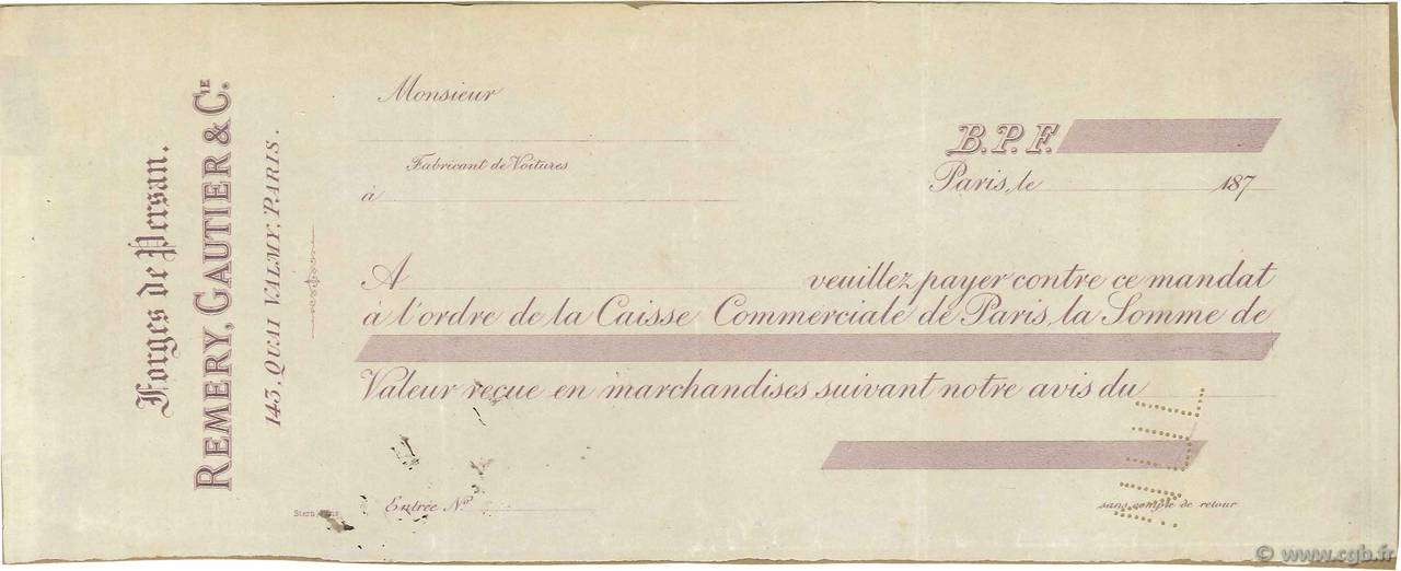 Francs FRANCE régionalisme et divers Paris 1870 DOC.Mandat TTB