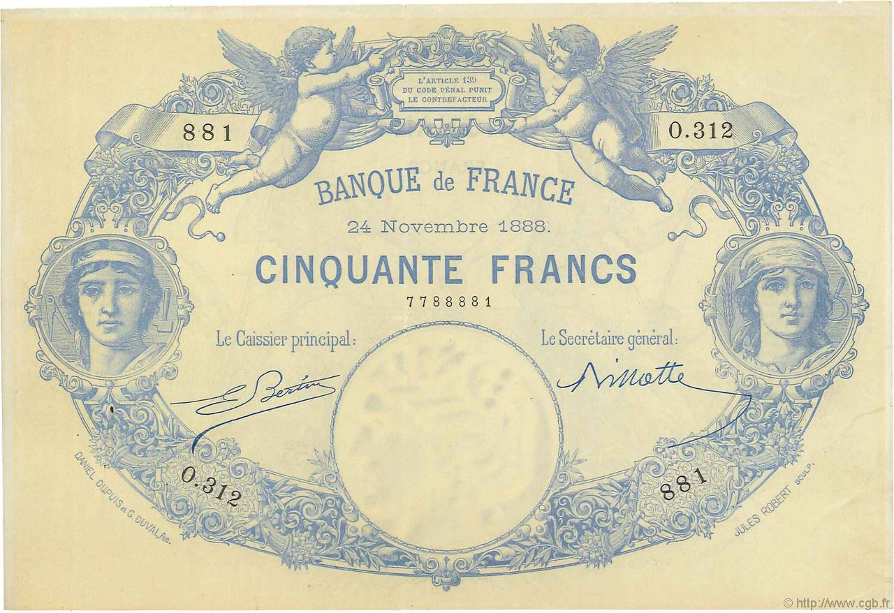 50 Francs type 1884 Indices Noirs FRANCE  1888 F.A47.04 SUP