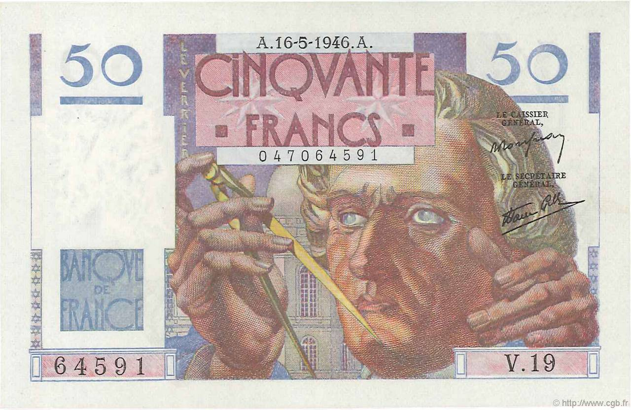 50 Francs LE VERRIER  FRANCE  1946 F.20.04 NEUF