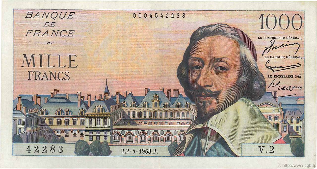 1000 Francs RICHELIEU FRANCE  1953 F.42.01 TTB+