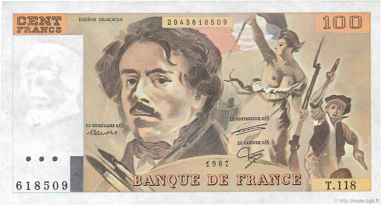 100 Francs DELACROIX  UNIFACE FRANCE  1995 F.69u.05 SPL