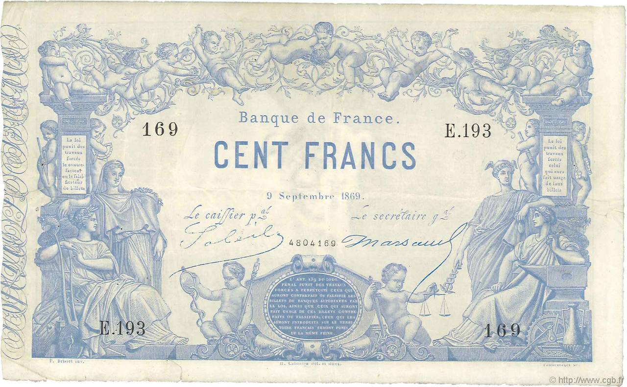 100 Francs type 1862 Indices Noirs FRANCE  1869 F.A39.04 TB+