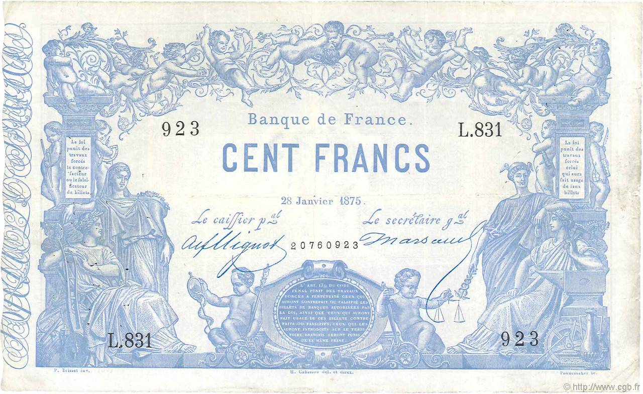 100 Francs type 1862 Indices Noirs FRANCE  1875 F.A39.11 TB+