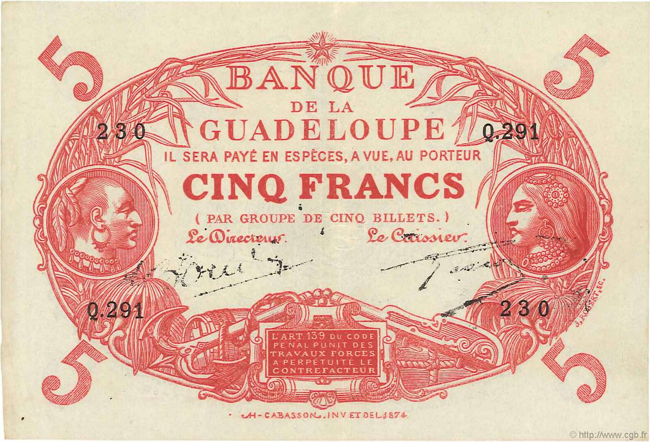 5 Francs Cabasson rouge GUADELOUPE  1944 P.07d SUP+