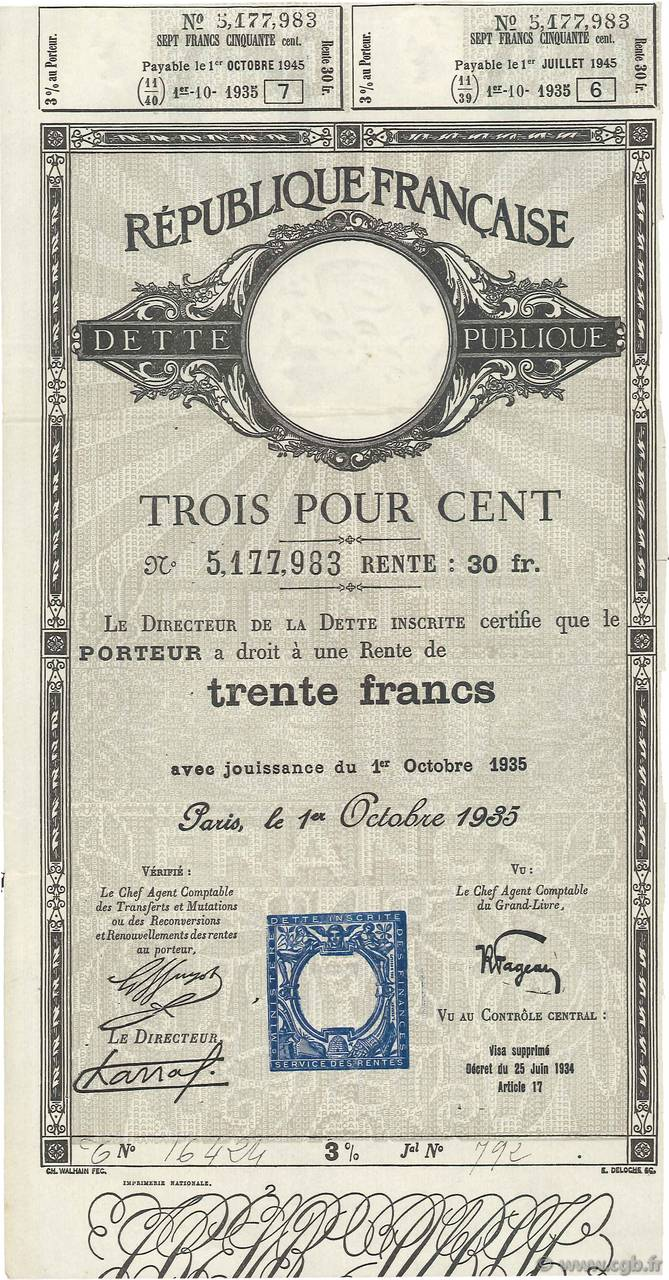 30 Francs FRANCE régionalisme et divers  1935  SUP