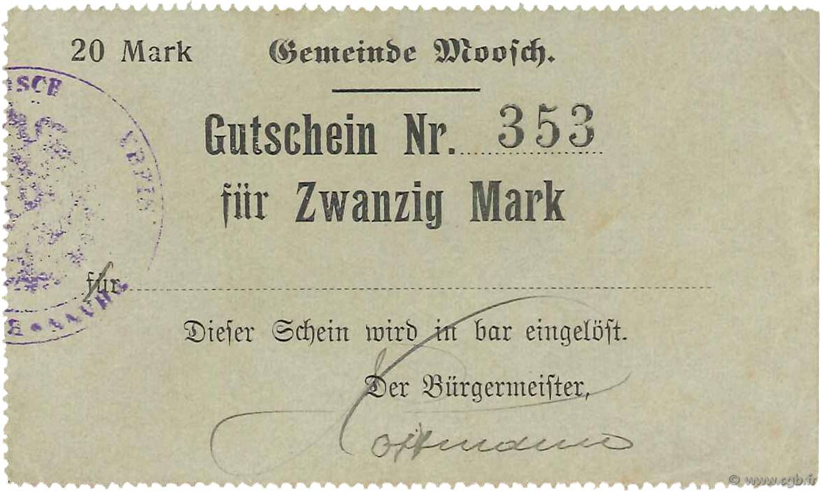 20 Mark FRANCE régionalisme et divers MOOSCH 1916 JPNEC.68.248 SUP