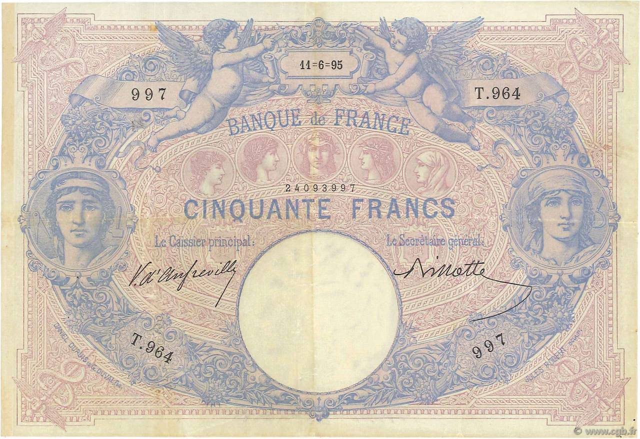 50 Francs BLEU ET ROSE FRANCE  1895 F.14.07 TB+