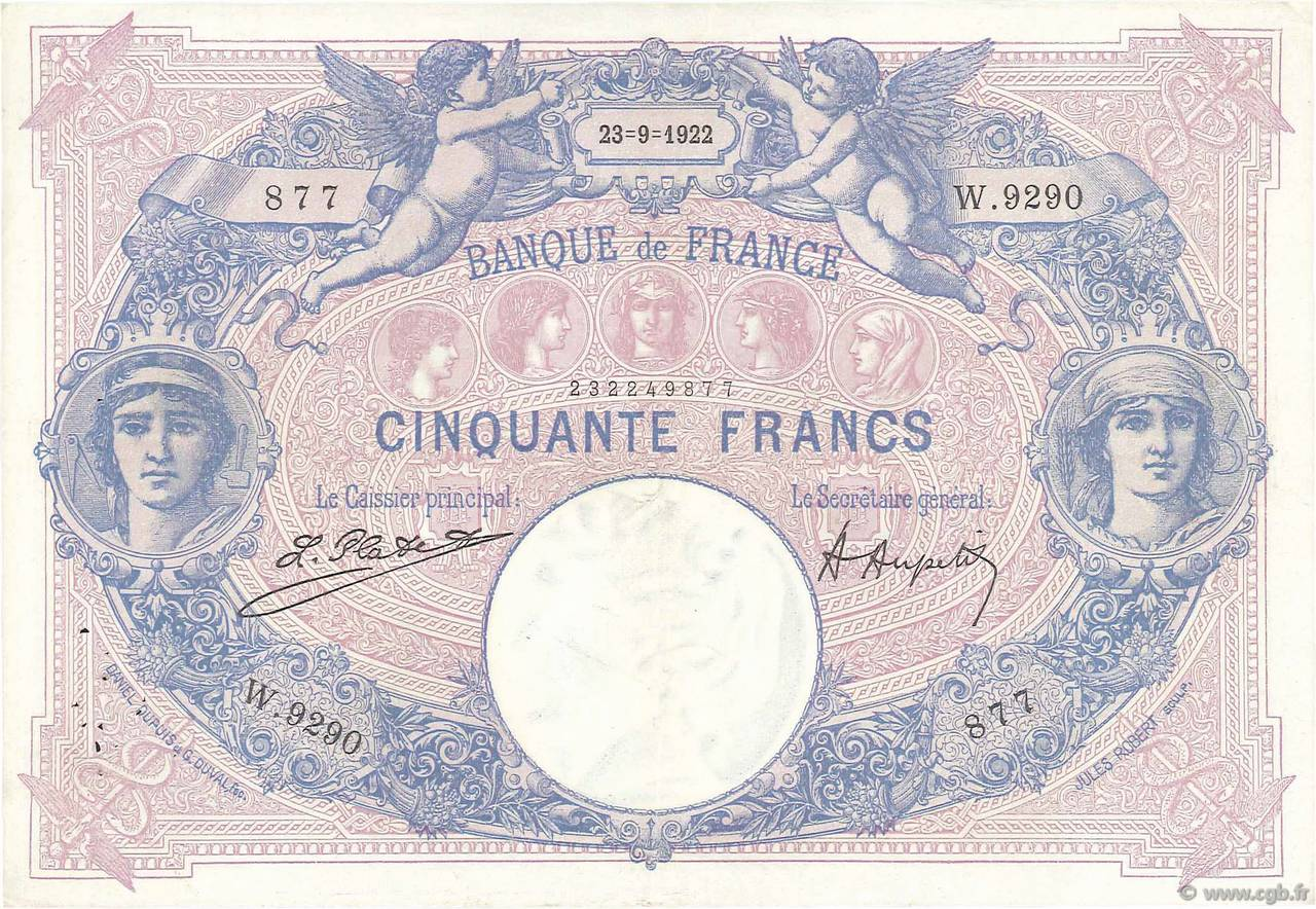 50 Francs BLEU ET ROSE FRANCE  1922 F.14.35 TTB