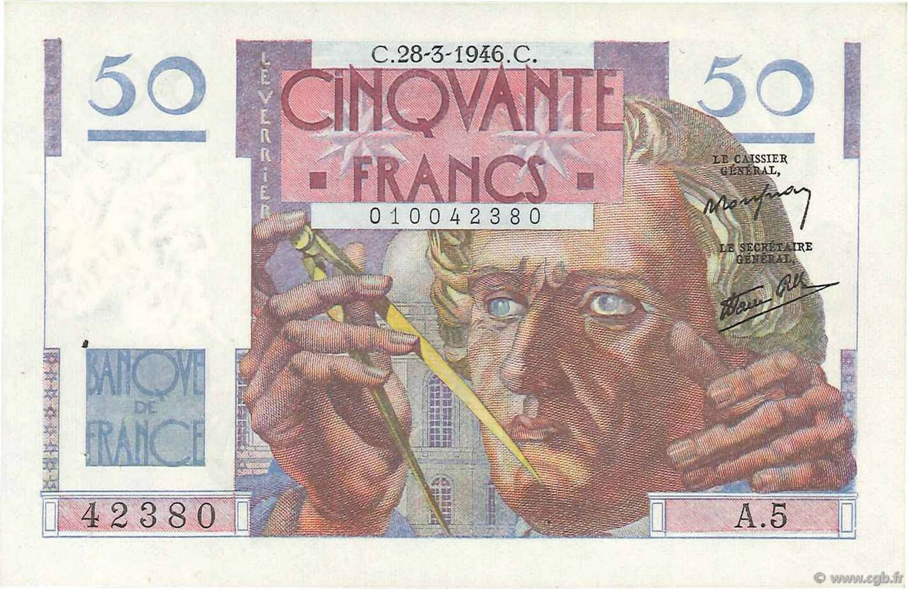 50 Francs LE VERRIER FRANCE  1946 F.20.02 SPL