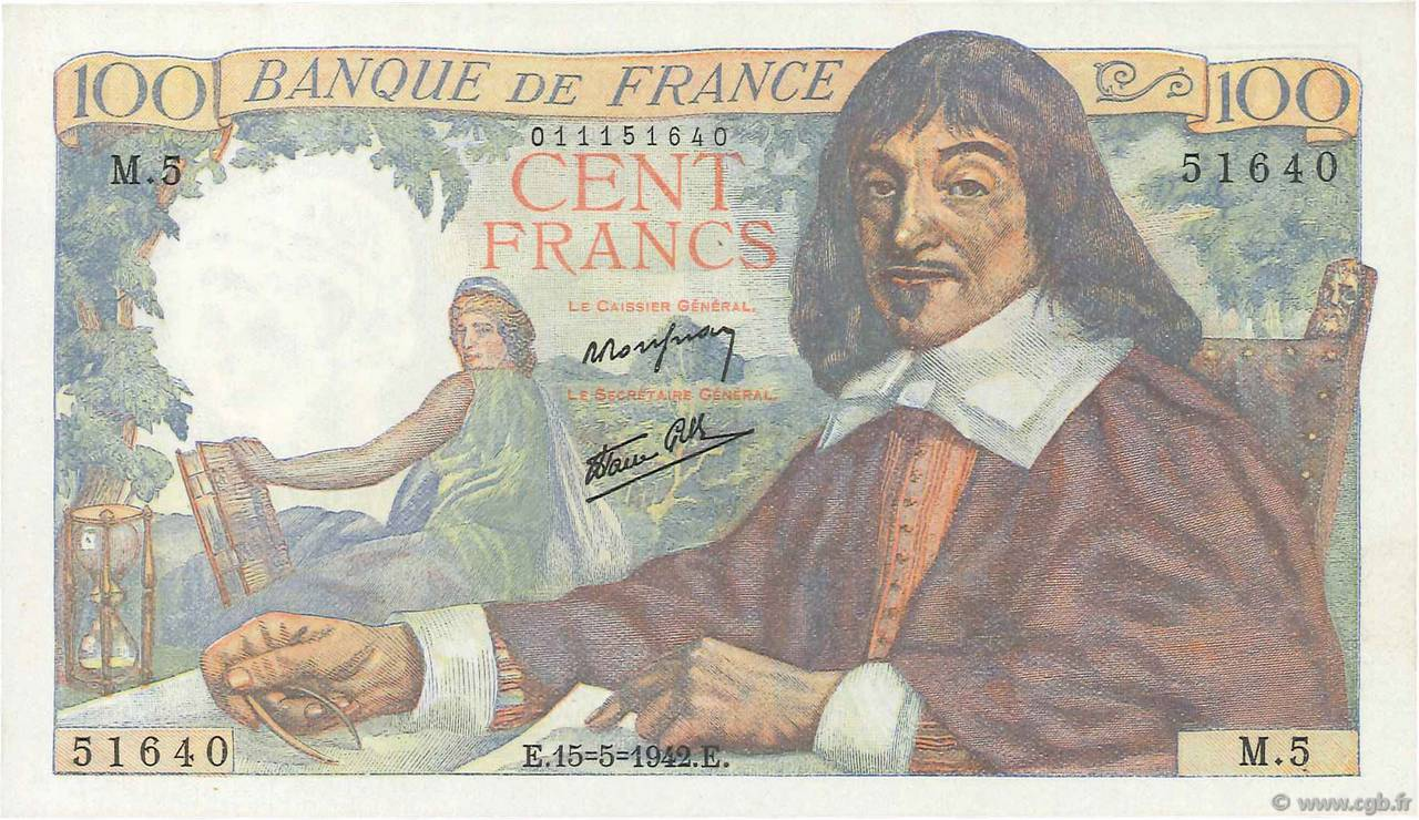 100 Francs DESCARTES  FRANCE  1942 F.27.01 pr.NEUF