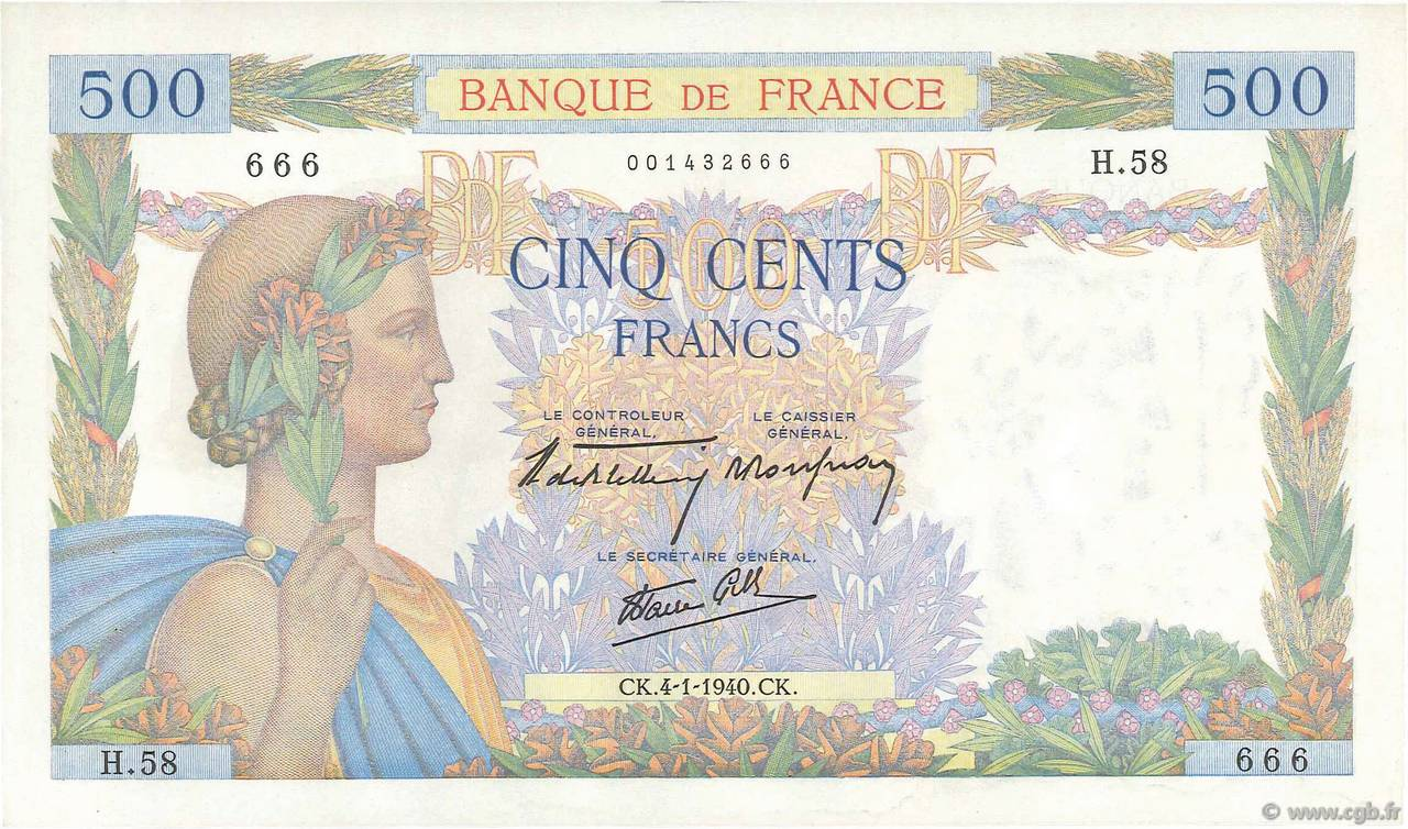 500 Francs LA PAIX FRANCE  1940 F.32.01 SUP+
