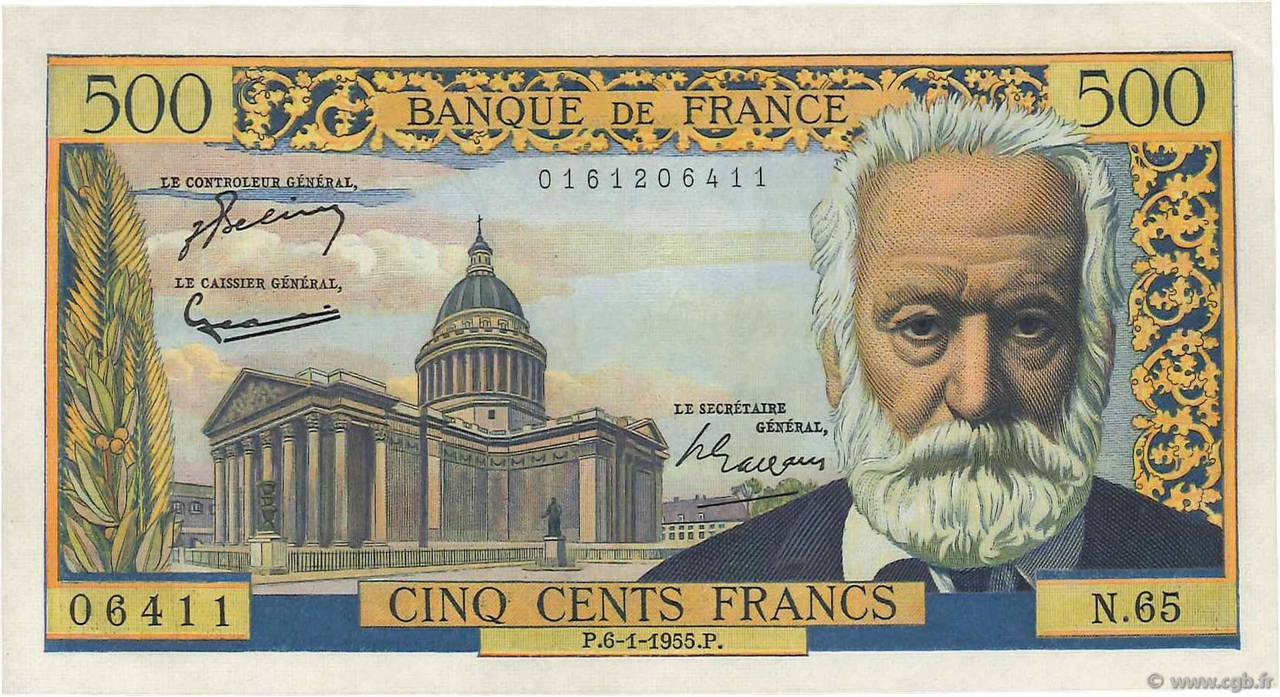 500 Francs VICTOR HUGO  FRANCE  1955 F.35.04 SUP+