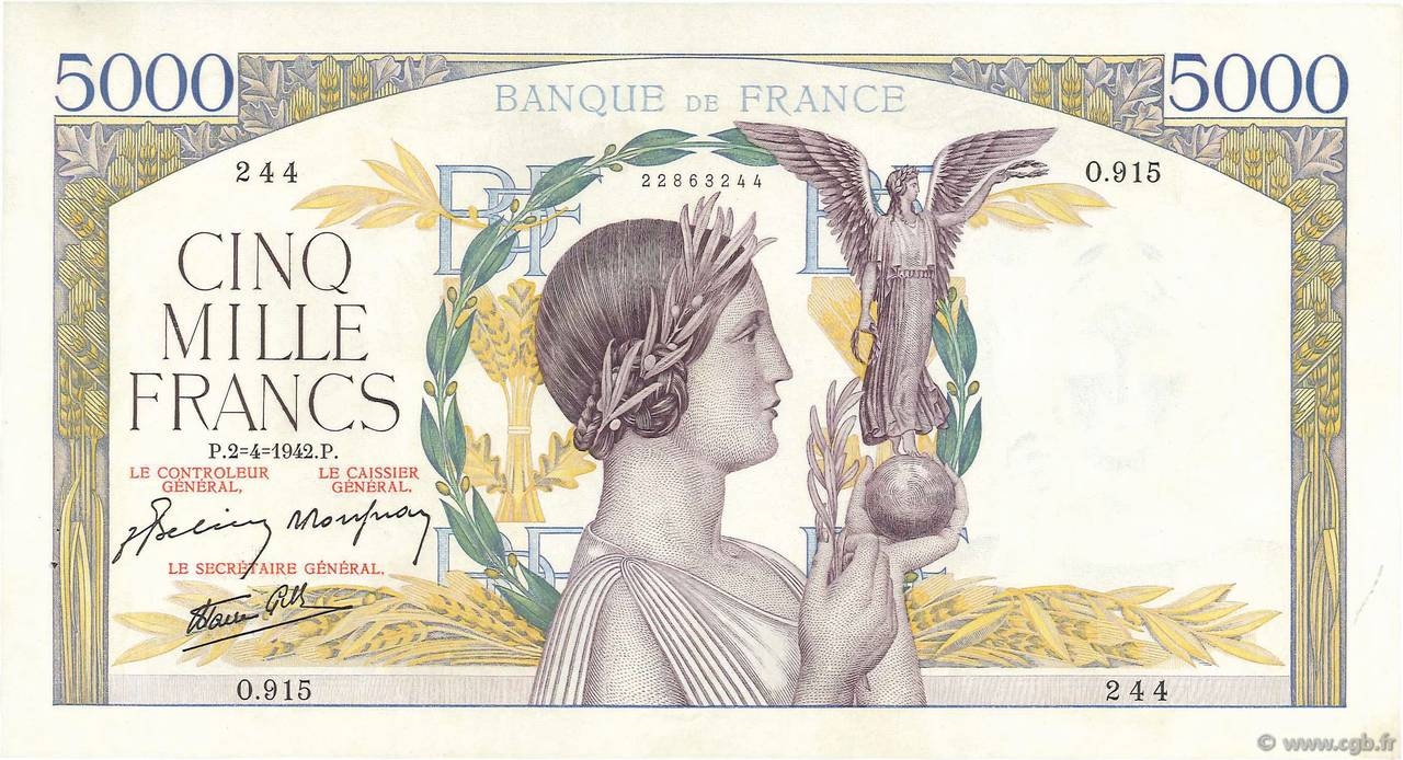 5000 Francs VICTOIRE Impression à plat  FRANCE  1942 F.46.36 SUP+