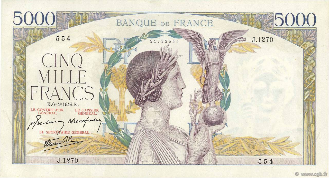 5000 Francs VICTOIRE Impression à plat FRANCE  1944 F.46.51 SUP