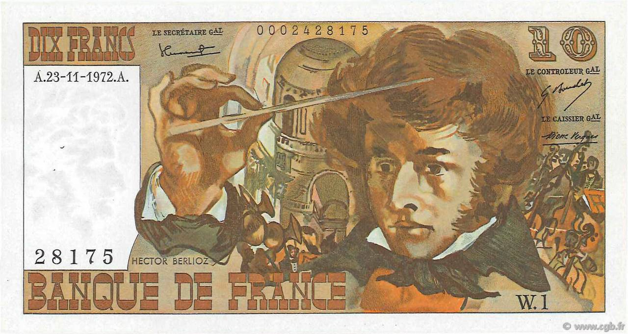 10 Francs BERLIOZ FRANCE  1972 F.63.01 SPL