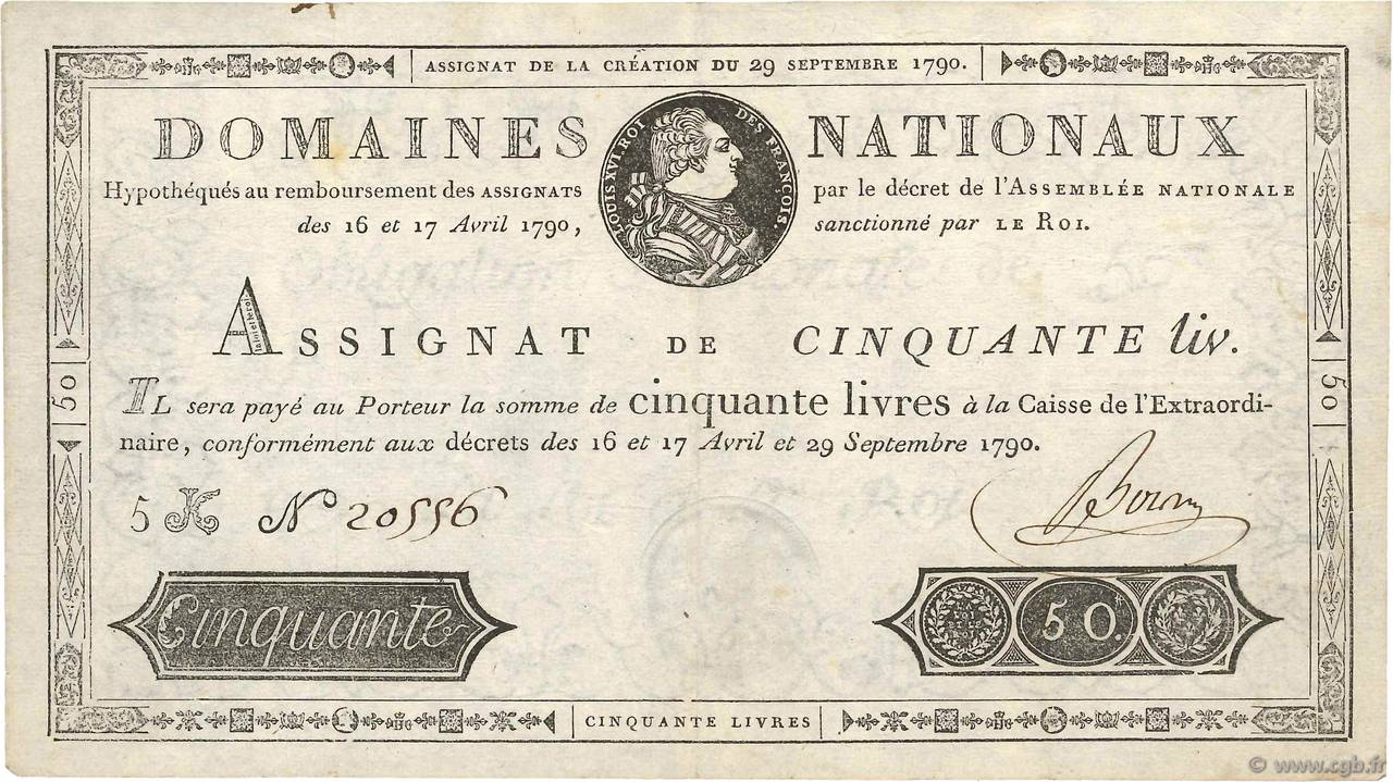 50 Livres FRANCE  1790 Ass.04a TTB