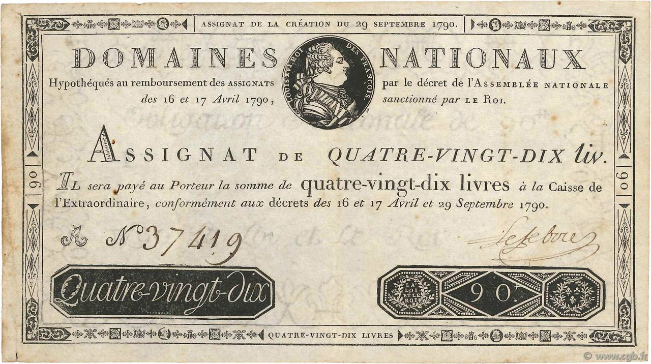 90 Livres FRANCE  1790 Ass.08a F+