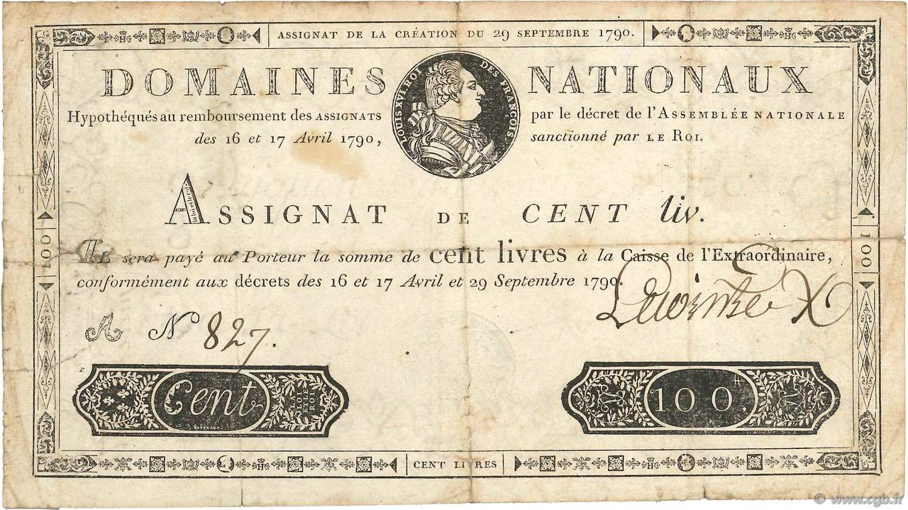 100 Livres FRANCE  1790 Ass.09a F