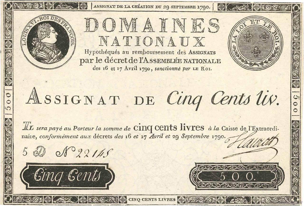 500 Livres FRANCE  1790 Ass.10b SUP