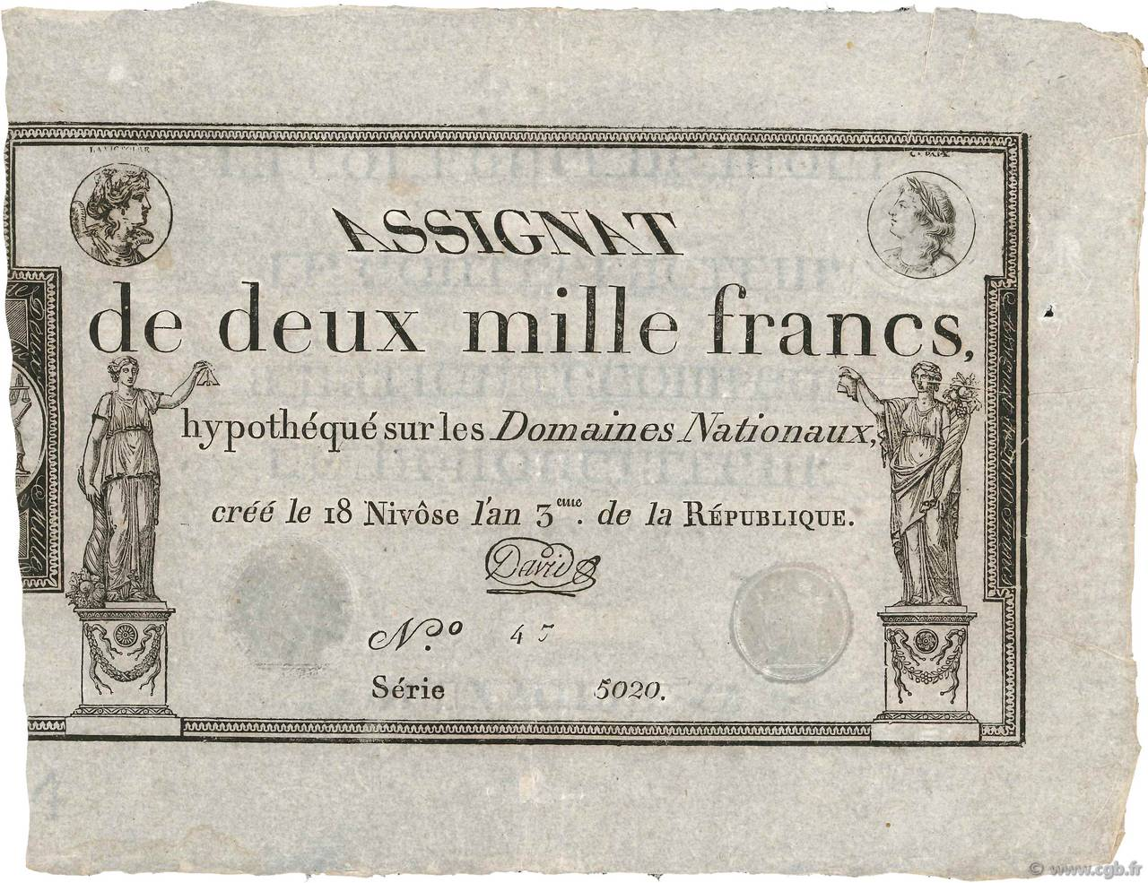 2000 Francs FRANCE  1795 Ass.51a SUP