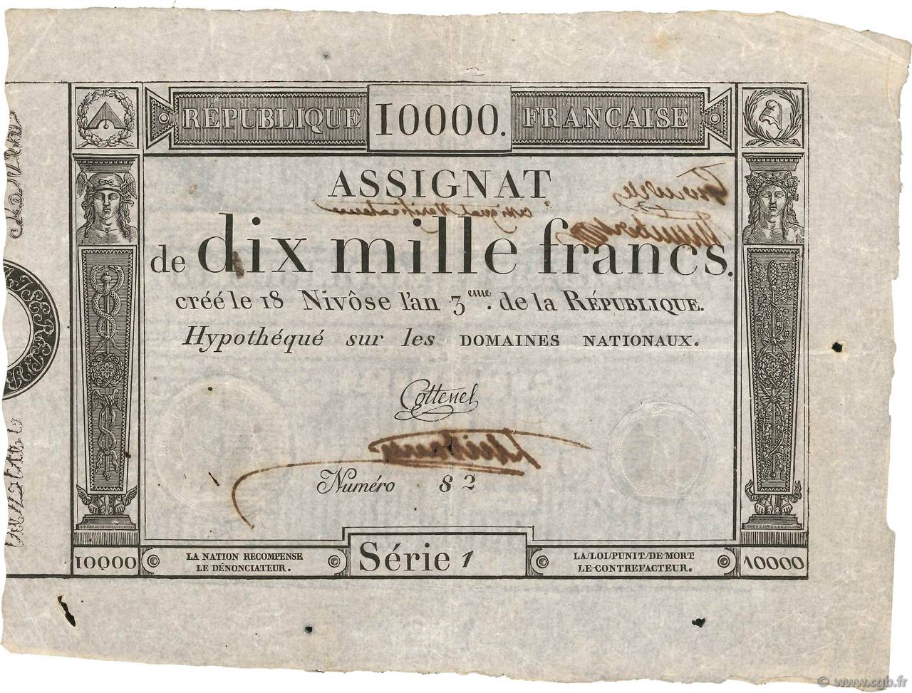 10000 Francs FRANCE  1795 Ass.52v SUP