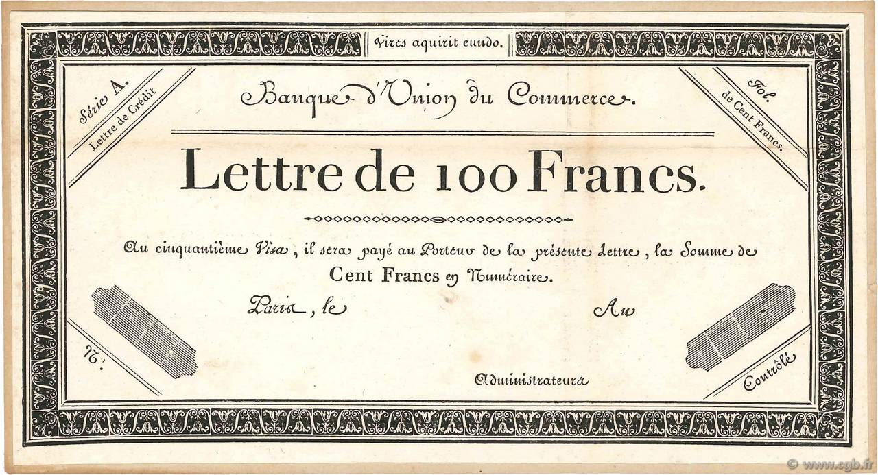 100 Francs Non émis FRANCE  1800  XF