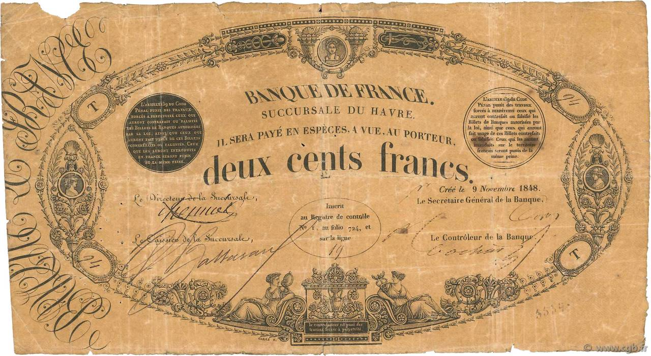 200 Francs type 1848 Succursales FRANCE  1848 F.A30.02 B+