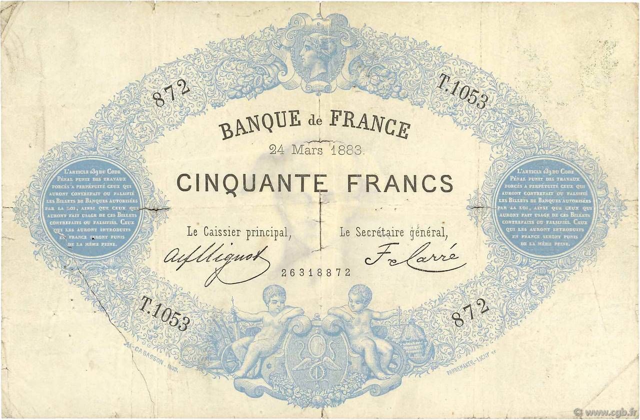 50 Francs type 1868 Indices Noirs FRANCE  1883 F.A38.13 TB