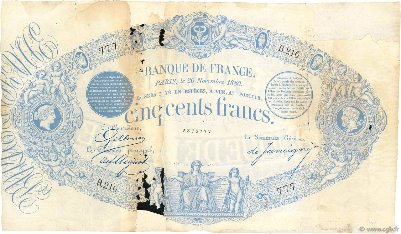 500 Francs type 1863 Indices Noirs FRANCE  1880 F.A40.14 P