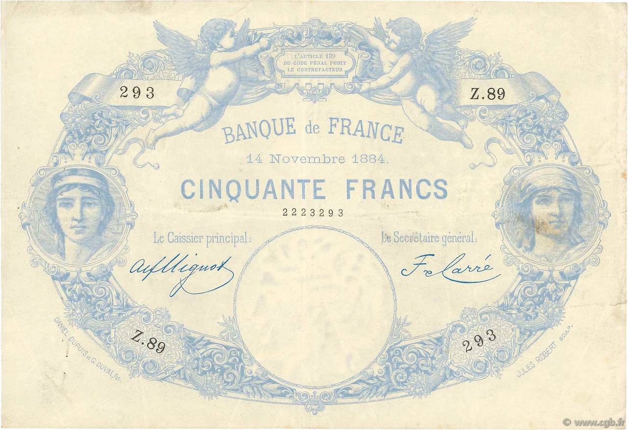 50 Francs type 1884 Indices Noirs FRANCE  1884 F.A47.01 TTB