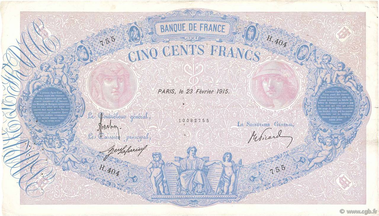 500 Francs BLEU ET ROSE FRANCE  1915 F.30.22 VF-
