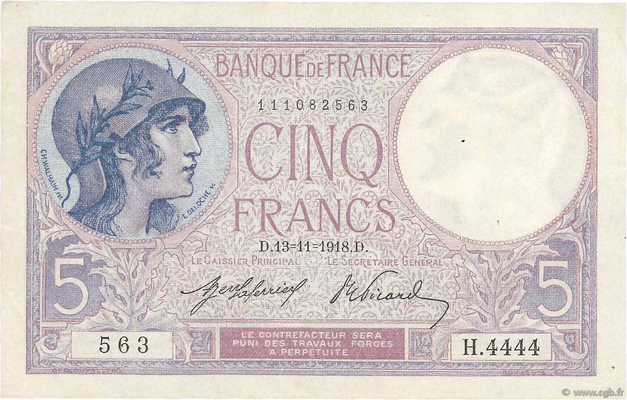 5 Francs VIOLET FRANCE  1918 F.03.02 pr.SUP